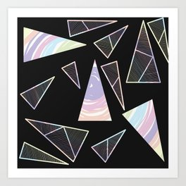 Abstract Artwork Pattern of Color Triangles on a Black Background Style #04 Art Print
