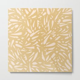 Bamboo Leaves in Light Gold / Ink Mood Metal Print