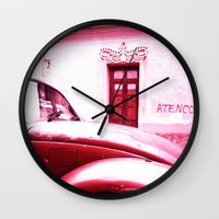 vw Wall Clocks featuring VW Kaefer by Julia Aufschnaiter