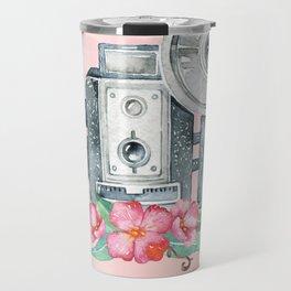 Vintage Flash Camera - Old Paparazzi in Watercolor Travel Mug