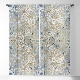 Mandala Flower, Blue and Gold, Floral Prints Blackout Curtain