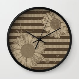 Beige Daisies with Stripes Wall Clock