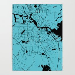 Amsterdam Turquoise on Black Street Map Poster