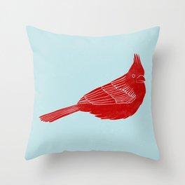 """Red Cardinal """"Digital Block Print"""" Throw Pillow"""