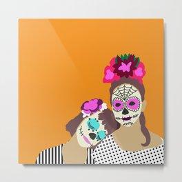 Sugar Skull Halloween Girls Orange Metal Print