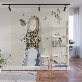 Selfie with Mens Hiking Boots Wall Mural