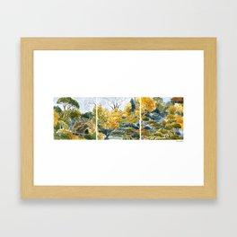 Japanese Garden in Three Views Framed Art Print