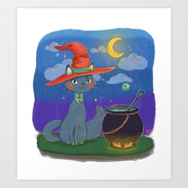 Little Cat Witch Art Print