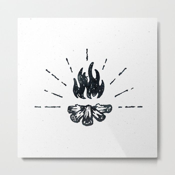 Campfire Black and White Flames Vintage Metal Print