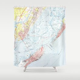 Vintage Map of Ocean City NJ (1952) Shower Curtain