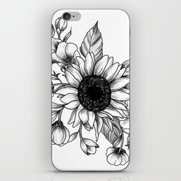 Bouquet of Flowers with Sunflower / Fall floral lineart iPhone Skin