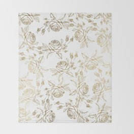 Vintage white faux gold roses floral Throw Blanket