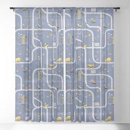 Under Construction Digger Vehicles Blue Pattern Sheer Curtain
