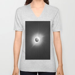Total Solar Eclipse Illuminated by Sun  Unisex V-Neck