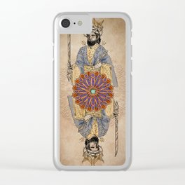 Arabesque Deck of Cards King Spades Clear iPhone Case