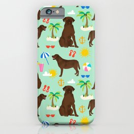Chocolate Lab labrador retriever dog breed beach summer vacation dog gifts iPhone Case