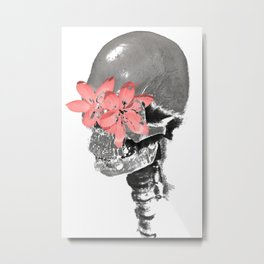 Skull with Flower Eyes Light Metal Print