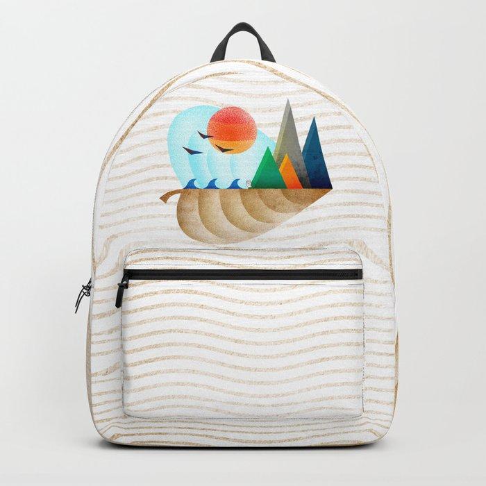 074 - Autumn leaf minimal landscape II Backpack