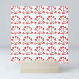 Brushed Floral, Study 5, Red on White Mini Art Print