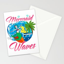Be a Mermaid And Make Waves Adorable Mermaid Pun Stationery Cards