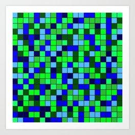 Aqua Squares Art Print