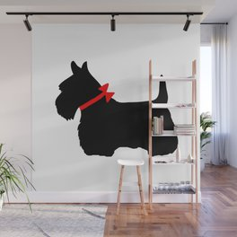 Scottie Dog with Red Bow Wall Mural