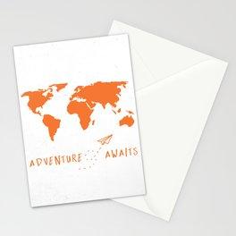 Adventure Map - Retro Orange on White Stationery Cards