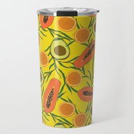 Papaya, avocado and orange in yellow Travel Mug