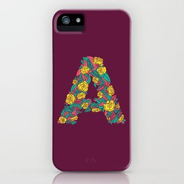 Floral Type - Letter A - Wine Berry iPhone Case