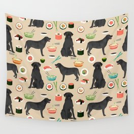 black lab sushi cute funny dog breed pet pattern labrador retriever Wall Tapestry
