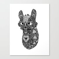 toothless Canvas Prints featuring TOOTHLESS by FilippoCardu