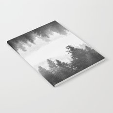 Black and white foggy mirrored forest Notebook
