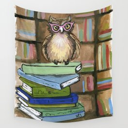 Owl the Librarian Wall Tapestry