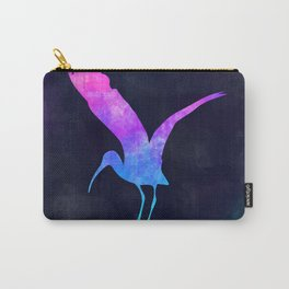STORK IN SPACE // Animal Graphic Art // Watercolor Canvas Painting // Modern Minimal Cute Carry-All Pouch