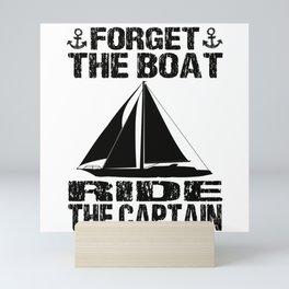 Skipper Sailboat Sailing Ship Boat Yacht Anchor Mini Art Print