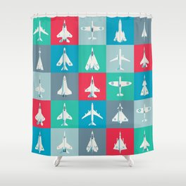 Classic Iconic Aircraft Pattern Shower Curtain