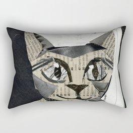 Newspaper Cat Rectangular Pillow