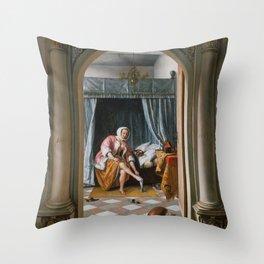 "Jan Steen ""Woman at her Toilet"" Throw Pillow"