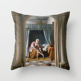 "Jan Steen ""Woman at her Toilet"" Throw Pillow"
