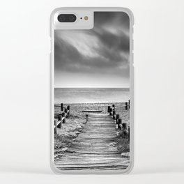 """""""To the beach...."""" BW. At sunset Clear iPhone Case"""
