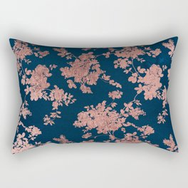 Navy blue faux rose gold watercolor floral Rectangular Pillow