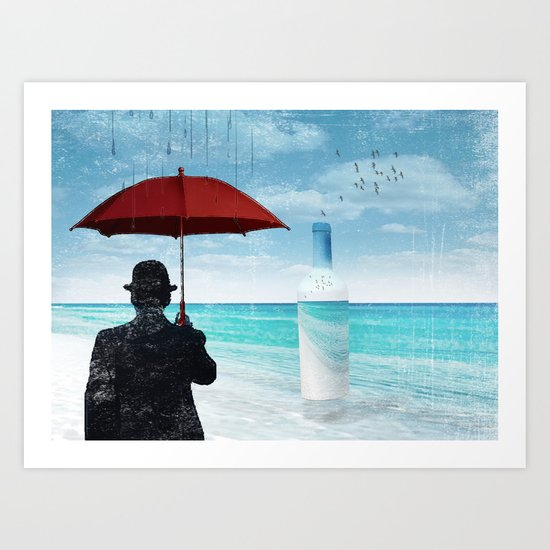 Chaplin at the beach in the rian Art Print