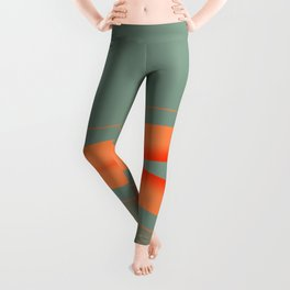 Army Green Orange Stripe Leggings