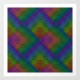 Multicoloured hypnotic diamond trance pattern Art Print