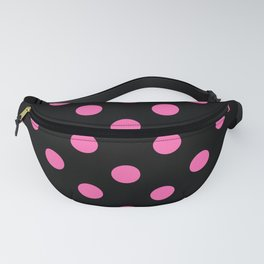 XX Large Light Hot Pink Polka Dots on Black Fanny Pack