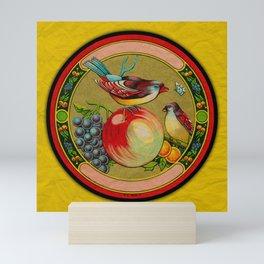 Fruit and Bird Trade Label Mini Art Print