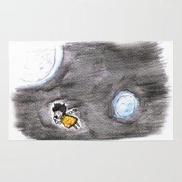 The little girl in orange in space Rug