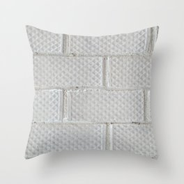 Background of white brick wall pattern texture. Great for graffiti inscriptions. Throw Pillow