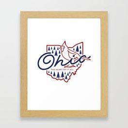 Ohio State Line Art Framed Art Print
