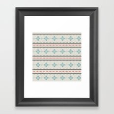 Retro seamless pattern with triangles, floral and decorative objects Framed Art Print